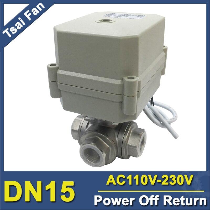 AC110-230V Power Off Return Valve 3-Way L/T Type BSP/NPT 1/2