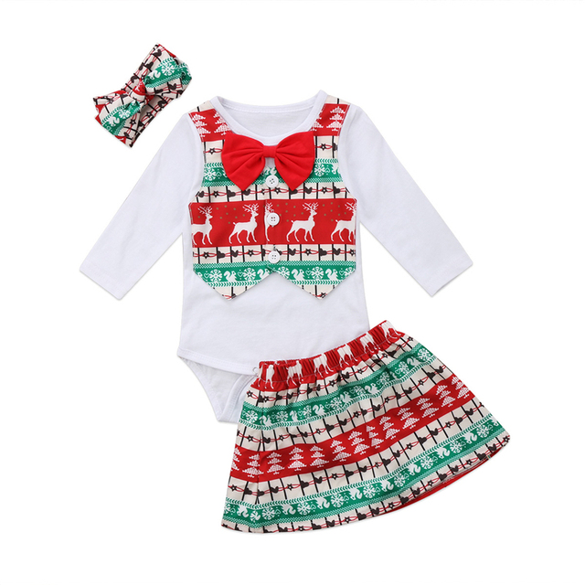 5b482d9bf Christmas Baby Girl Cotton Clothes Set Xmas Newborn Girls Fake Two ...