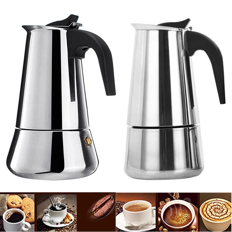 все цены на Stainless Steel Coffee Maker Pot Mocha Moka Espresso Latte Stovetop Coffee Pot Filter 100ML 200ML 300ML 450ML Coffee Machine