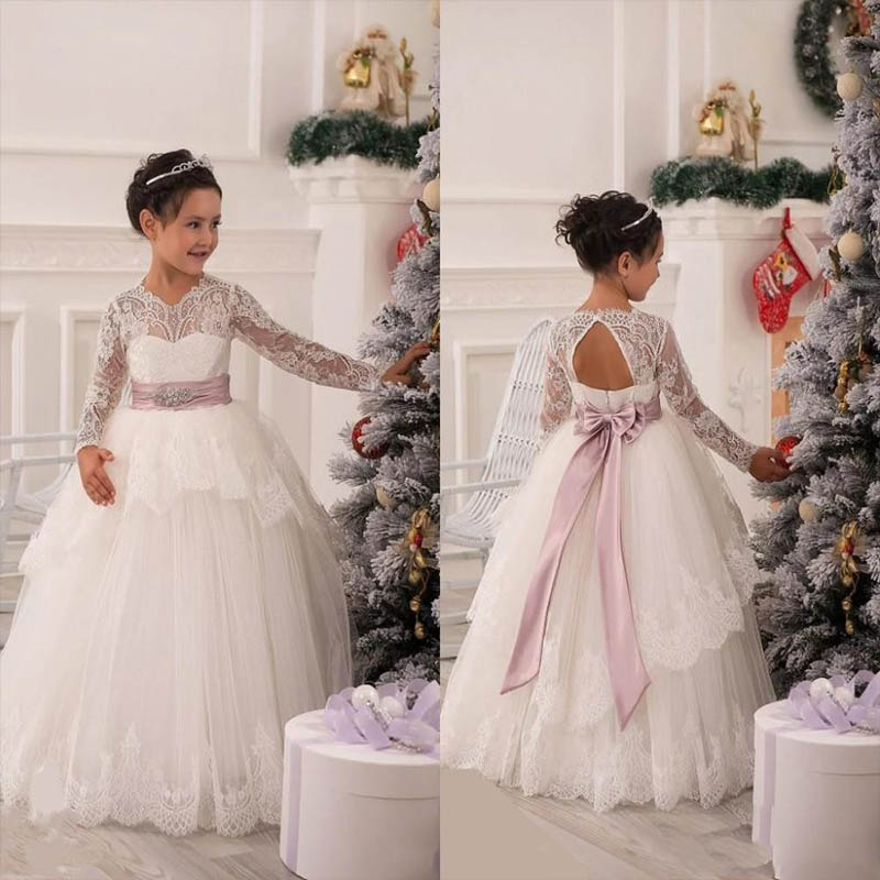 F3 Formal Long Sleeve Flower Girl Dresses 2016 Bow Sash Beads Lace Pageant Princess Dresses Kids  Communion Dresses For Wedding