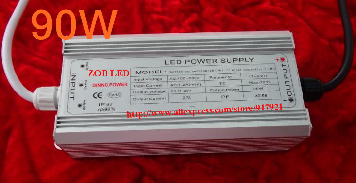90w led driver, DC40V,2.7A,high power led driver for flood light / street light,IP65,constant current drive power supply