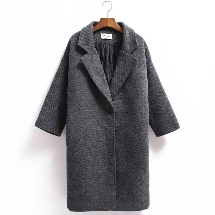 ff5cf7e1967 Корейских Женщин пальто длинный участок свободный шерстяные куртки ...