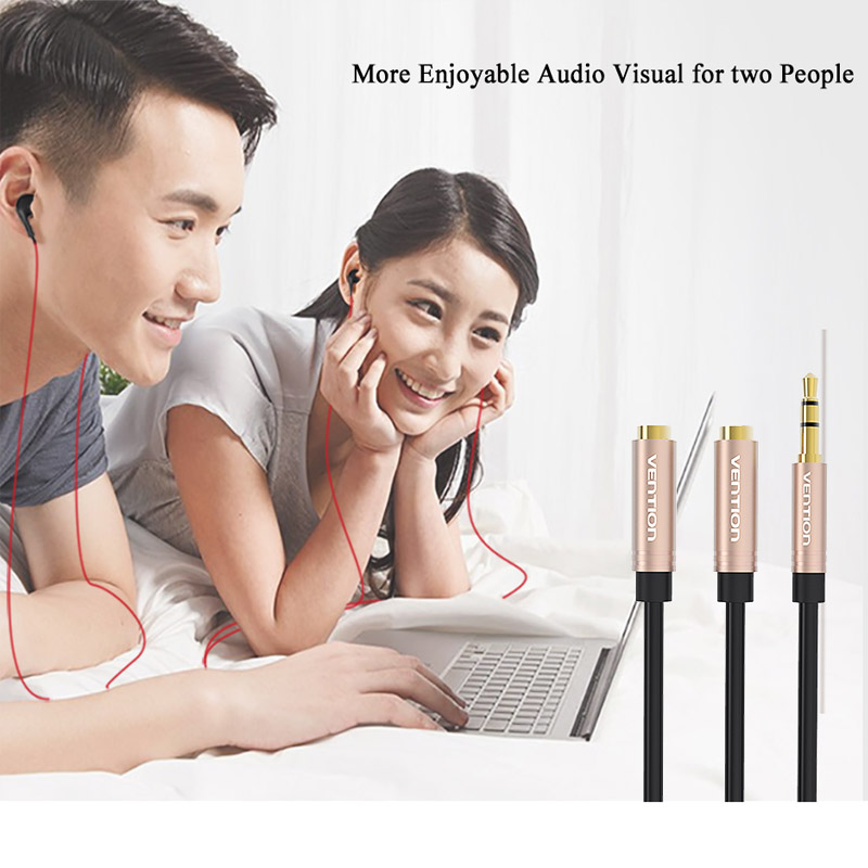 Vention 3.5MM Audio Extension Cable Male to 2 Female Earphone 3.5 Jack Splitter Jack 3.5 AUX Cable For Phone Headphone Car MP3