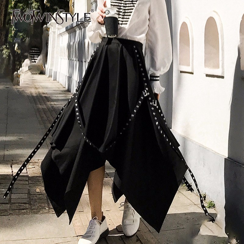 TWOTWINSTYLE Black Asymmetrical Pleated Skirt Women Patchwork Rivet Sashes High Waist Skirts Female Fashion Causal Clothes 2018
