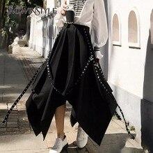 黒非対称プリーツスカート女性パッチワークリベットサッシハイウエストスカート女性のファッション因果服 Twotwinstyle 2020