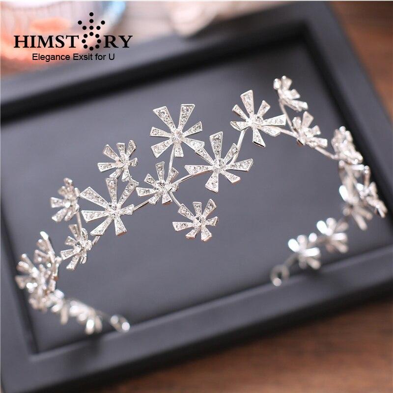 HIMSTORY New Elegant Sparkly Crystal Star Hair Tiara Free Beading Bride Headdress Rhinestone Jewelry Wedding Accessories