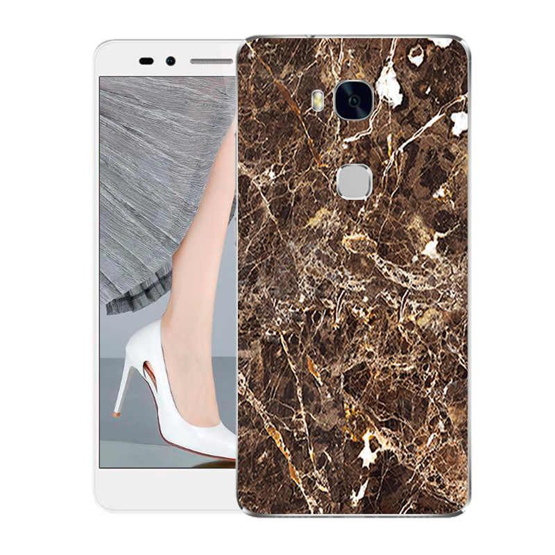 Для Huawei Honor 5X чехол Мода прозрачная задняя крышка из ТПУ для Huawei Honor 5X5 X X5 GR5 чехол из мягкого силикона Мрамор чехлы-накладки на заднюю панель для телефона с УФ-печатью крышка