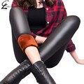 S-XXL Invierno Leggins Leggings Mujeres de La Manera Caliente de Espesor de Terciopelo Legging de Cuero de Imitación Más Tamaño Sólido Caliente Polainas de Las Mujeres