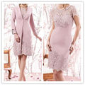 Vestidos De Noiva Pink Lace Knee Length Mother Of The Bride Dresses With Long Coat 3/4 Sleeves Women Wedding Formal Outfits