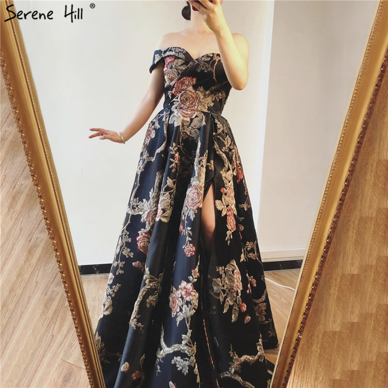 Image 5 - Navy Blue Embroidery Flowers Sexy Evening Dresses 2020 One Shoulder Sleeveless Evening Gowns Serene Hill LA60904Evening Dresses   -