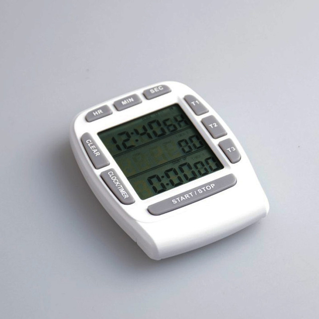 Digital Kitchen Timers Booth Table For Timer Clock Cooking Three Channel Loud