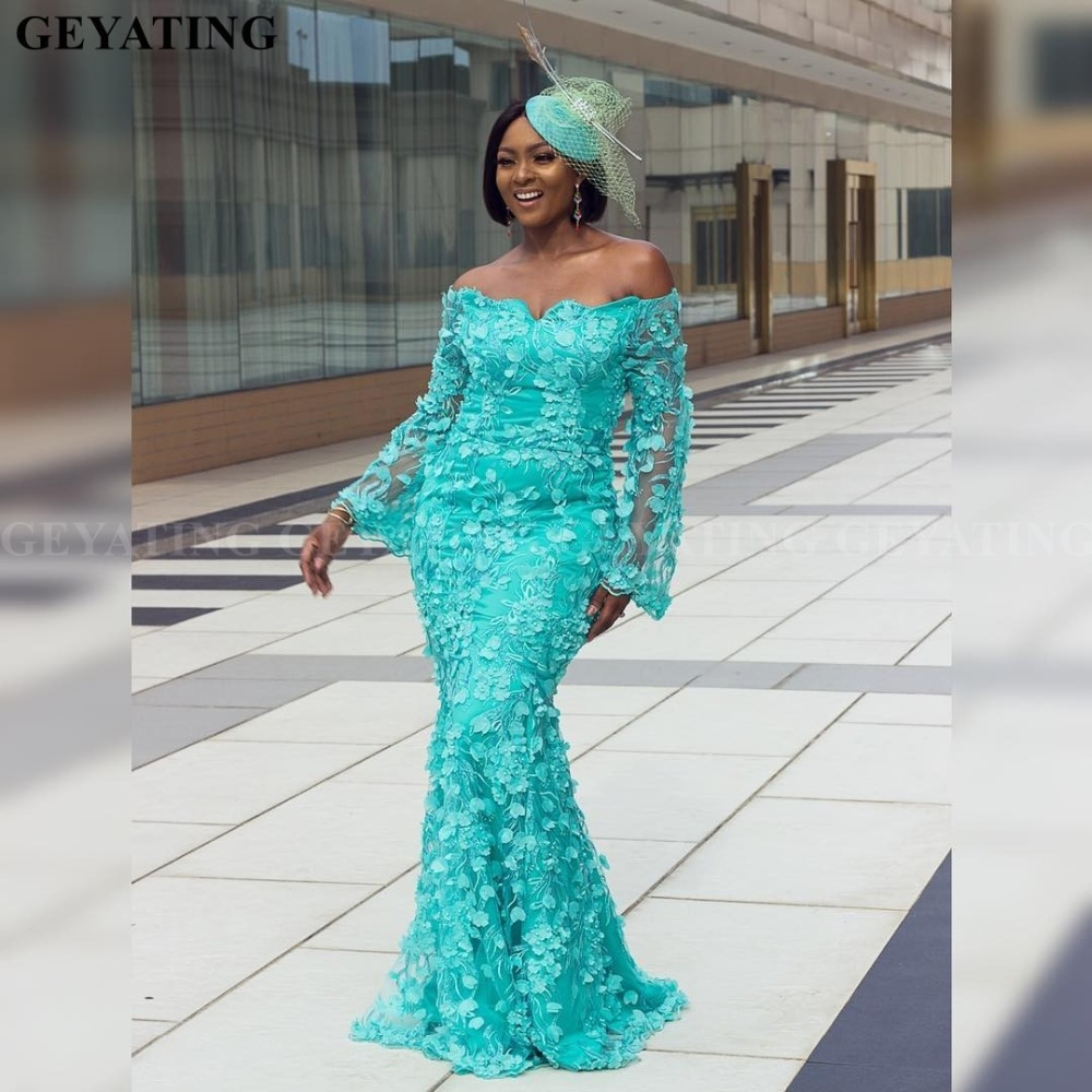 African Turquoise Blue Lace Long Sleeves Mermaid   Evening     Dress   2019 Aso Ebi Style Ghana Women Prom Long Formal   Dresses   Plus Size