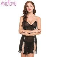 Avidlove Erotic Lingerie Sexy Underwear Transparent Black Bud Silk Patchwork Pajamas Household Lingerie Costumes Lenceria