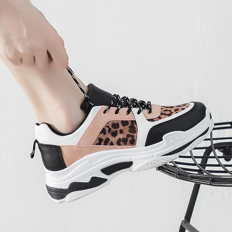 Women Fashion Shoes Fashion Platform Leopard Increase Casual Sneakers Breathable Style Leather Sports Women's Vulcanize Shoes