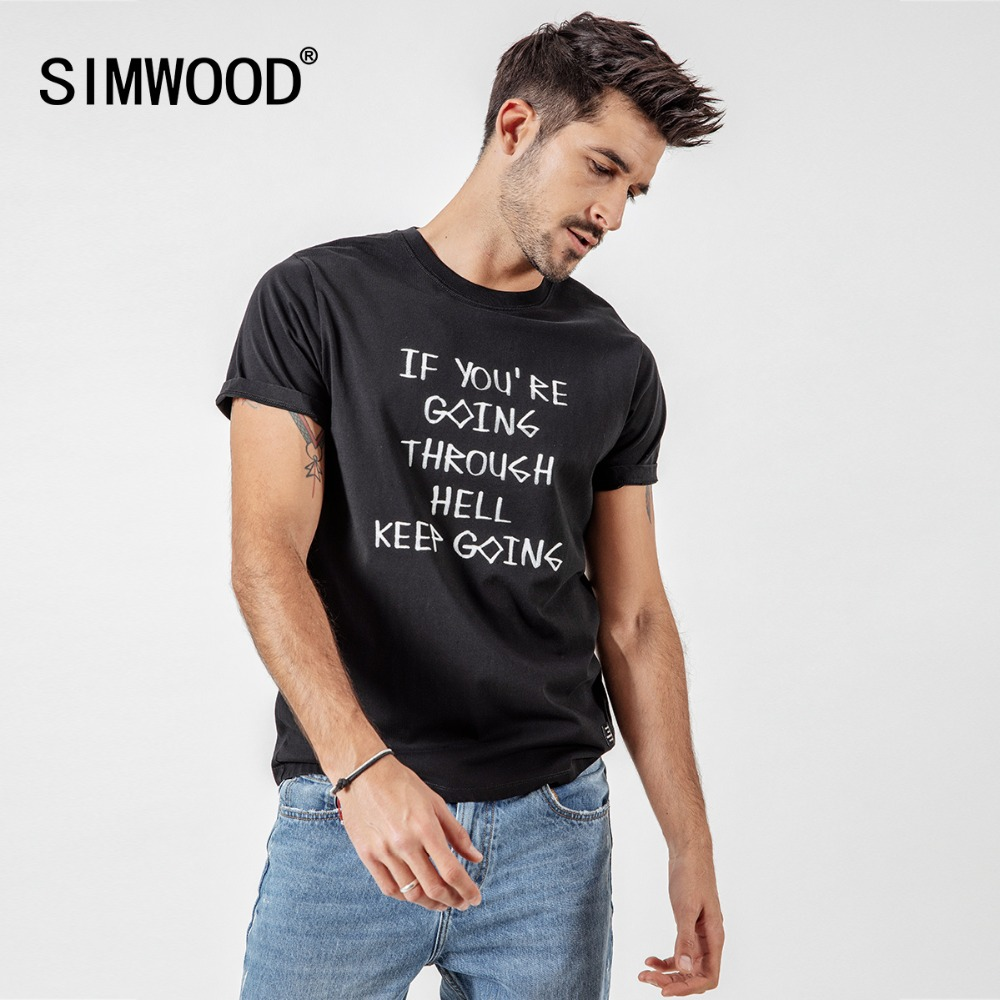 SIMWOOD 2020 T-Shirts Men Summer Casual Slim Short Sleeve Letter Print Tops Brand Clothing Male Plus Size Tees Camiseta 190133