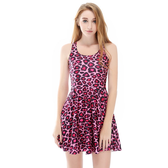 Hot sale New arrival Fashion 3D Women Pink Leopard print slim Expansion  sleeveless dress drop shipping  Free shipping a386a9751