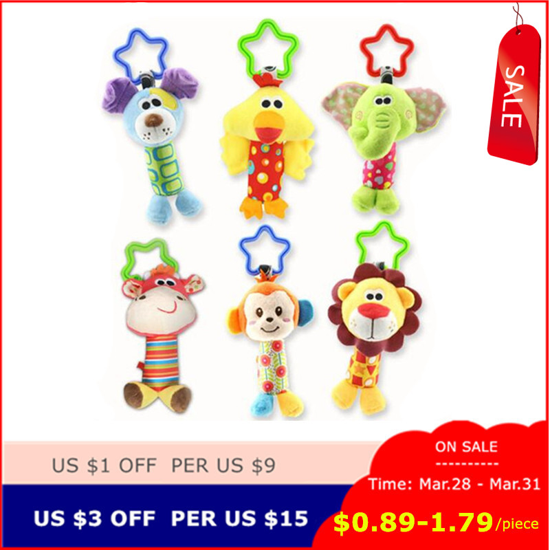 New Arrive Baby Toys Animal Hand Bells Plush Baby Boys Girls Toy Newbron Gift Baby Rattle Toys BF10