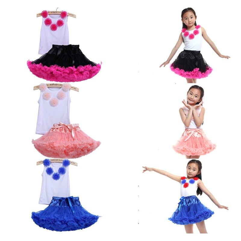 2018 New Children Girls Ballet Dance Costumes T-Shirt Sticky Flower Kids Girl Mesh Tutu Children'S Clothing Suit Dancing Set