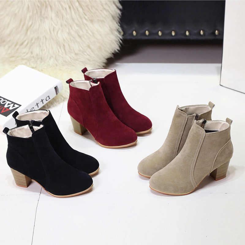 super popular pulcro imágenes detalladas LAKESHI botas tacón alto botas mujeres 2019 nuevo botas de plataforma de  gamuza zapatos de mujer botas de tobillo Mujer Plus tamaño mujeres tacones  ...