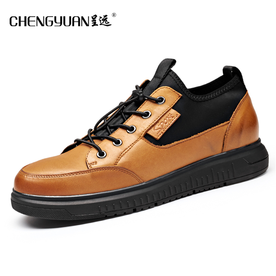 Men flats natrual leather casual shoes fashion trending thick sole black yellow comfortable lazy lace up mens shoes new 2017 spring autumn flats men canvas shoes fashion mens casual shoes thick sole classic black white lace up brand th027