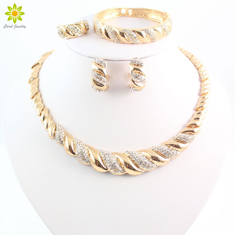 African Trendy Necklace Earrings Bracelet Women Gold Color