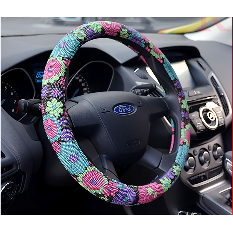 Fashion Cute Flower Printed Car Steering Wheel Cover Handlebar Case Leather Auto Interior Steering Covers Accessories Anti Slip cartoon cute steering wheel covers mickey mouse printed car steeing wheel cover black latex car interior accessories for girls