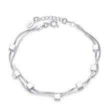 925 Sterling Silver Romantic Lovely Fashion Female Handmade Sweet Double Snake Bone Chain Five-Pointed Star Bracelet