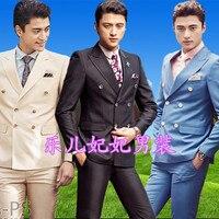 (Giacca + pantaloni) uomo doppio petto vestito Studio fotografare Coreano Slim abiti Sposo groomsman vestito costumi di Scena