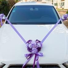 Beautiful Hot Wedding Car Decoration Artificial Flowers Ribbon Bowknot Wedding Home Decoration Supplies LXY9 AU07
