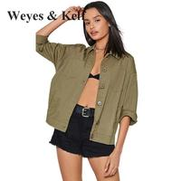 Weyes & Kelf Casual Letter Print Boyfriend Stly Coat Bomber Jacket women Single Breasted Long Sleeve Sexy Jacket Military Green