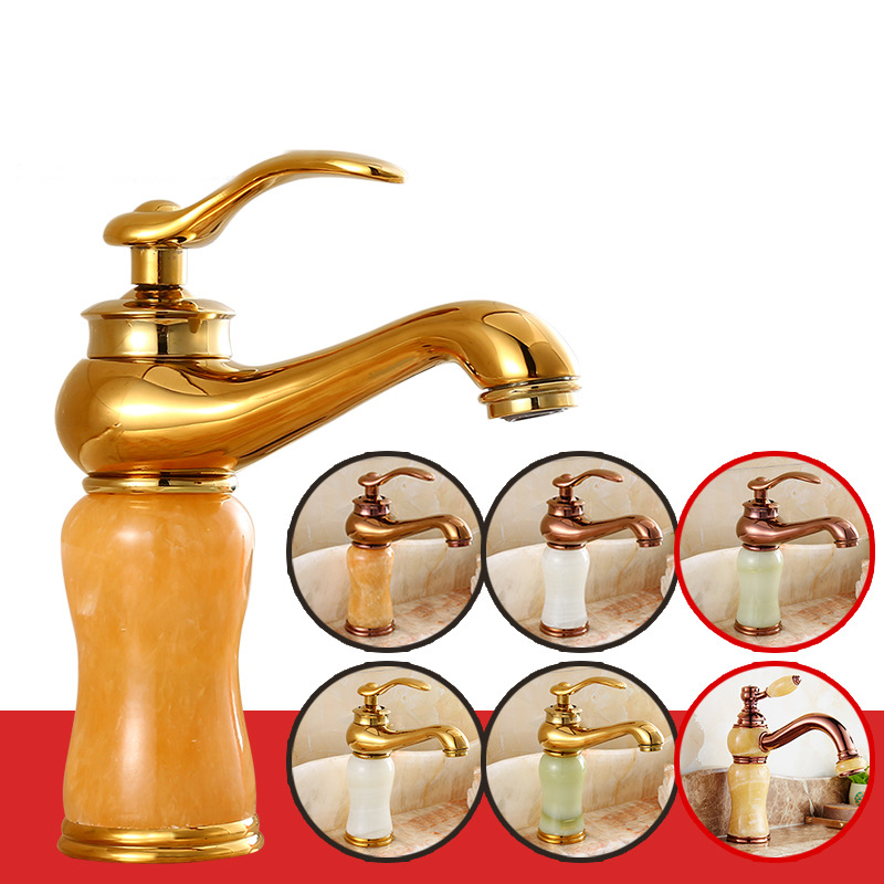 Grifo De Agua Lavabo Con Grifo Baño Caliente Y Frío Baño Jade Antiguo Oro Cobre Mármol Hotel D Accesorios de baño