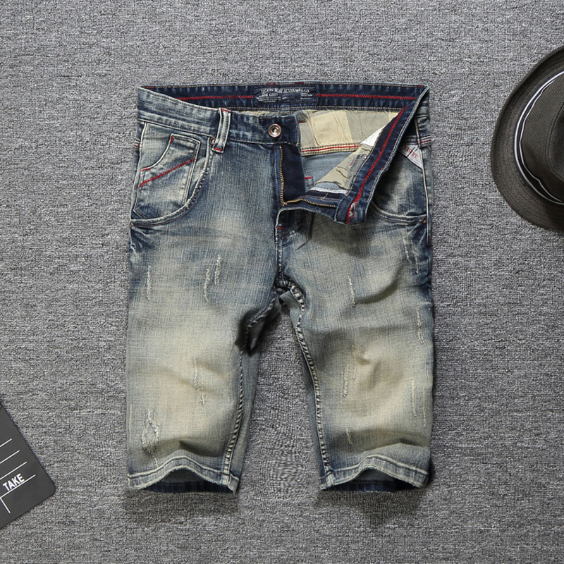 2019 Fashion New Men Jeans Shorts Summer Streetwear Knee Length Denim Shorts Men Youth Casual Short Jeans,New Shorts Men Pants