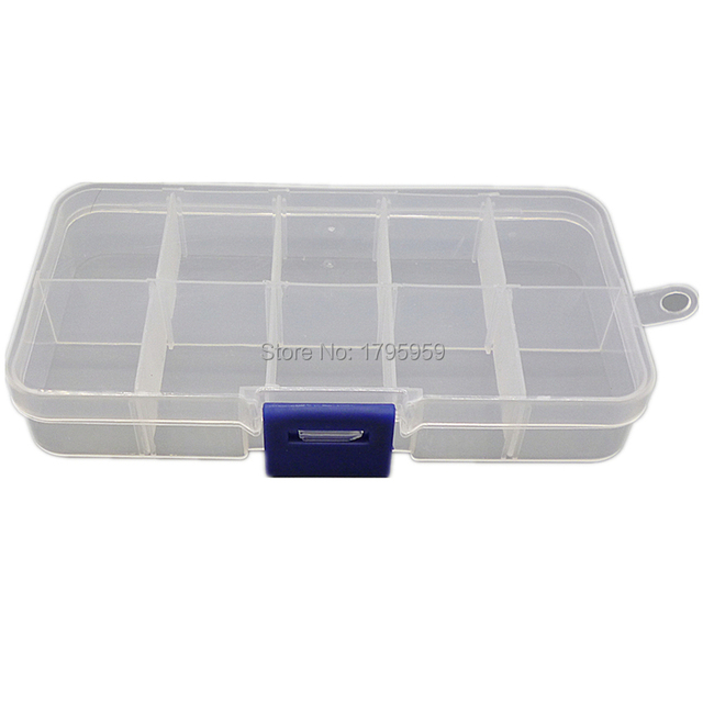 10 Slots Compartments Jewelry Bead Fishing Hook Lure Storage Plastic