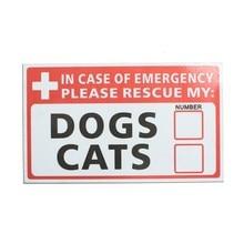 Safurance  Emergency Pet Rescue DOG CAT Vinyl Sticker Label Signs Safety Warning 74*125mm Security Safety