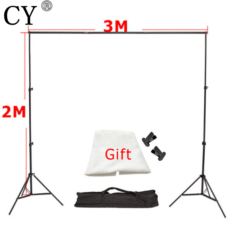 CY 3m x2m Aluminum Photography Support Background Backdrop System Stands Studio 3m Crossbar+2m Light Standx2+Free Backdrop *1 lightdow 2x3m 6 6ftx9 8ft adjustable backdrop stand crossbar kit set photography background support system for muslins backdrops