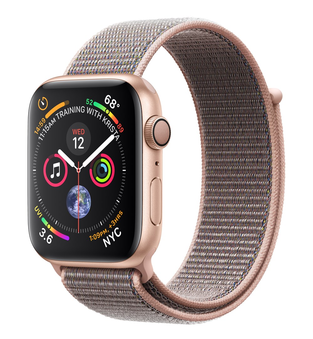 APPLEWATCH S4 GPS 44MM GOLD ALUM CASE PINK SAND SPORT LOOP IN