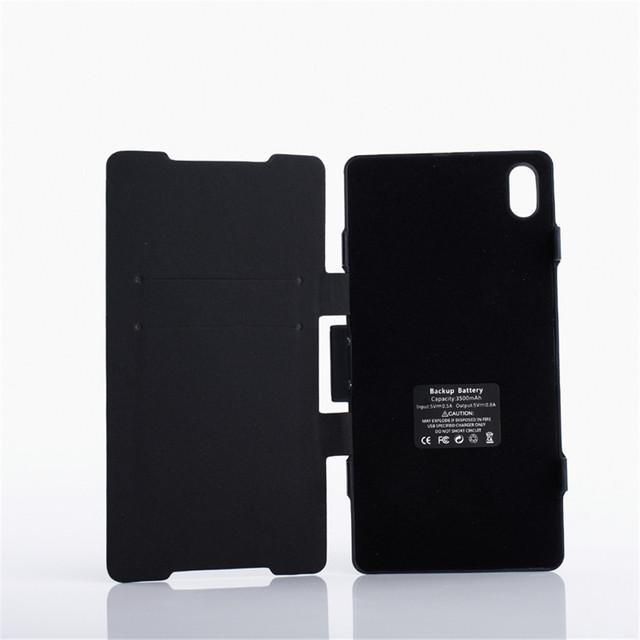 3500 mah de copia de seguridad externa cargador de batería de cuero del tirón del caso capa para sony xperia z2 l50w cubierta del paquete de energía + pata de cabra negro y blanco