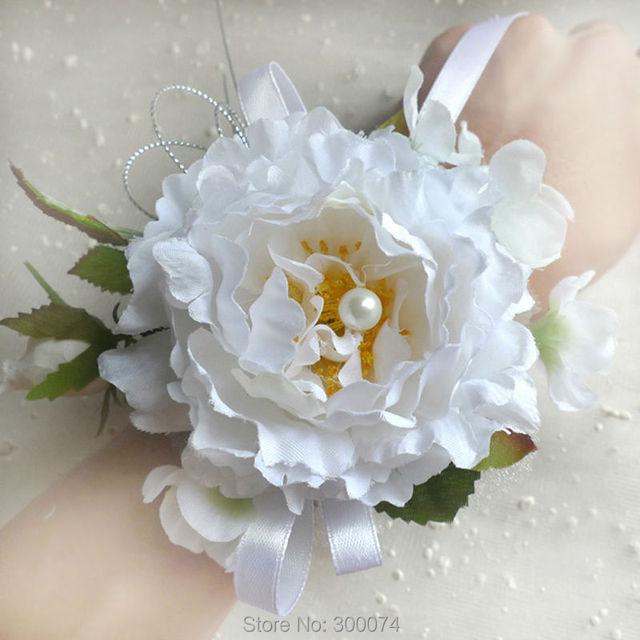 Handmade Wedding Flowers Corsage Bracelet Artifical Silk White Peony