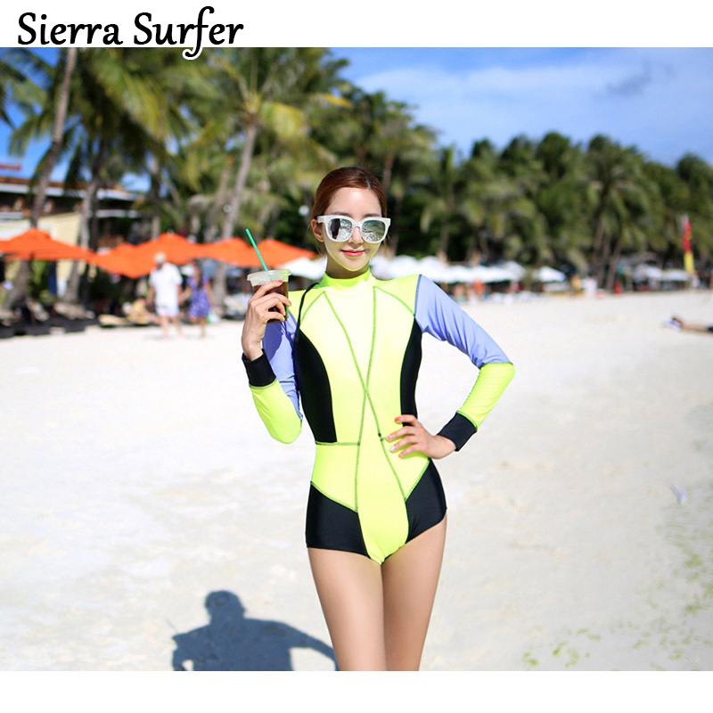 One Piece Swimsuit Swim Suit May Beach Girls Plus Size Swimwear 2018 Korea New Surf Long Sleeve Female Swimming Submersible sexy one piece swim suits may beach girls plus size swimwear one piece swimsuit baby chang ning new big skirt safety suit 17002