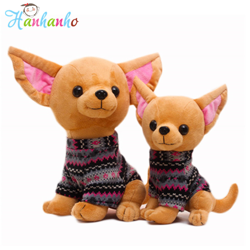 Simulation Cute Chihuahua Puppy Plush Toy Dog Doll With Clothes Stuffed Animals Soft Simulation Models Children Gift 25cm/32cm simulation poodle plush toy superman puppy stuffed animal gift for children soft doll teddy dog puppy model with clothes 45cm