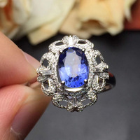 Fine Jewelry Real 18k White Gold 100 Natural Perfact Blue Sapphire Gemstone Female Ring For Women