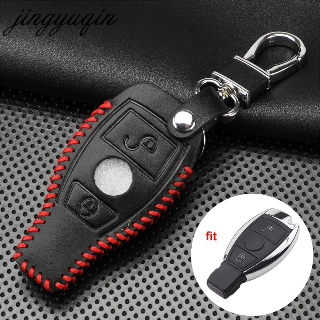 jingyuqin Leather Smart Auto <font><b>Key</b></font> Case 2 Button for Mercedes Benz Support NEC BGA 2000+Year W210 W211 <font><b>W124</b></font> W202 <font><b>Remote</b></font> Fob Cover image