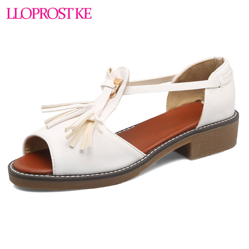 LLOPROST KE 2017 New Summer Spring Daily Casual Woman Shoes Retro Fringe Lace-up Fisherman Sandals women Rome Sandals dxj2053 lloprost ke 2017 summer new style fashion sandals of woman ladies shoes on heels big size 32 45 three color woman sandals lyf015