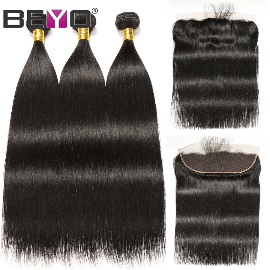 13x4 Lace Frontal Straight Hair Bundles With Frontal Indian Hair 3 Bundles With Frontal Closure Human