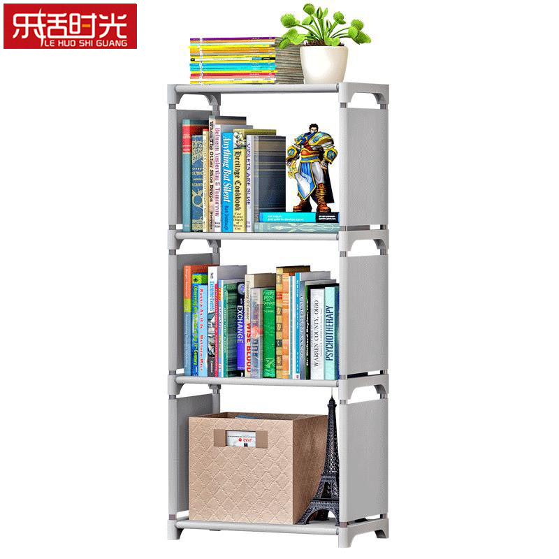 3 Cubes Simple Book Shelf Creative Printing Home Decoration Assembled Portable Children's Bookcase Cloth Bookshelf bookshelf racks simple creative desk small bookcase