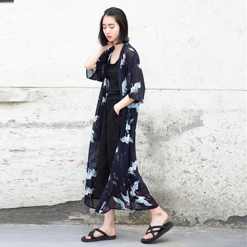Длинная рубашка Женская кимоно Женская 2018 японская harajuku кимоно кардиган блузка рубашка юката Женская Японская уличная TA450