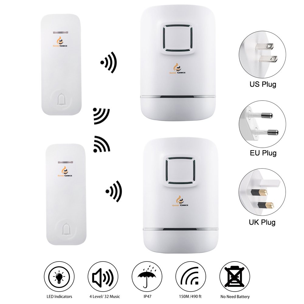 Wireless Doorbell Door Bell Chime Kit,No Need Battery,Waterproof,Two Transmitters Bell-Push Buttons,and Two Plug-in Receivers