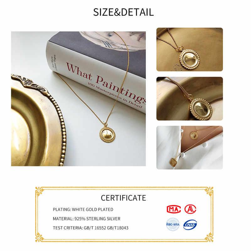 Inzatt BoHo Cermin Circle Square Rose Bunga Liontin Kalung 925 Sterling Silver Fine Perhiasan 45 Cm atau 55 Cm Rantai untuk Wanita Hadiah