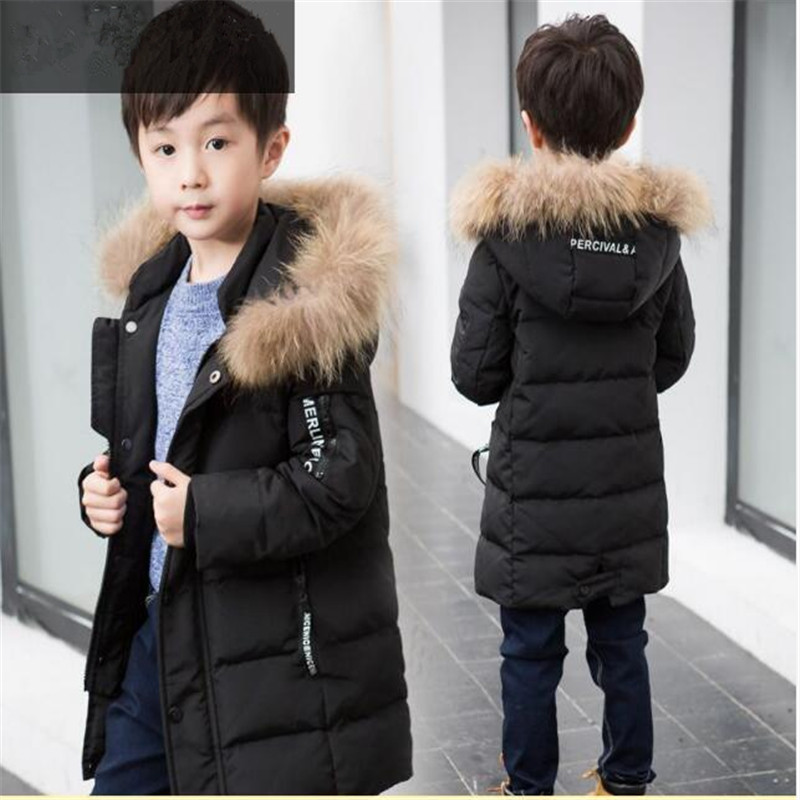 Boy winter coat long section 2018 new children in the children Cotton jacket coat cotton clothing 4-14 years old цена