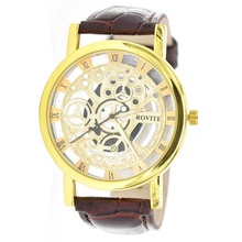 ROVITE Vogue Males's Roman dial skeleton Mechanical Wrist Watch Golden shell brown band